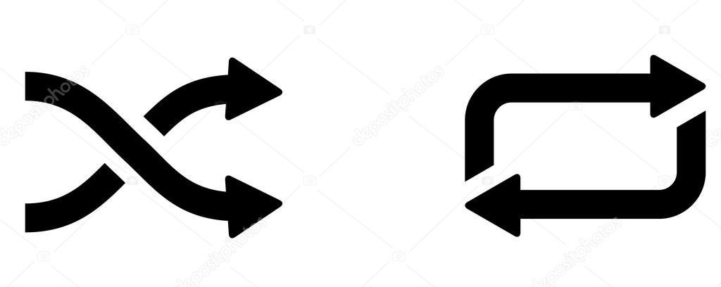 Vector Shuffle Repeat Icon Symbol Set — Stock Vector