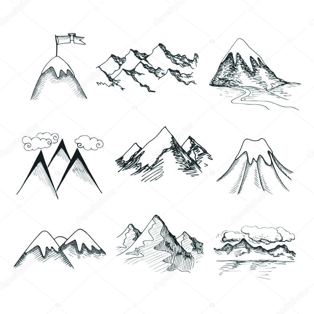 Mountain top icons — Stock Vector © macrovector #44778087