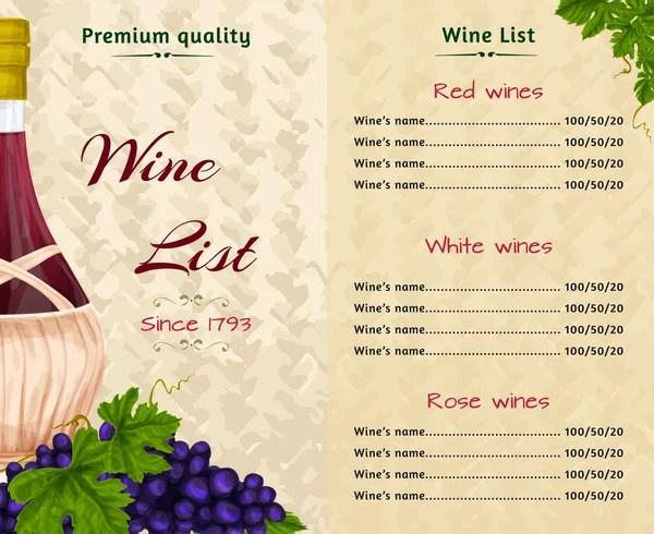 Modello di disegno di carta carta dei vini Layout del