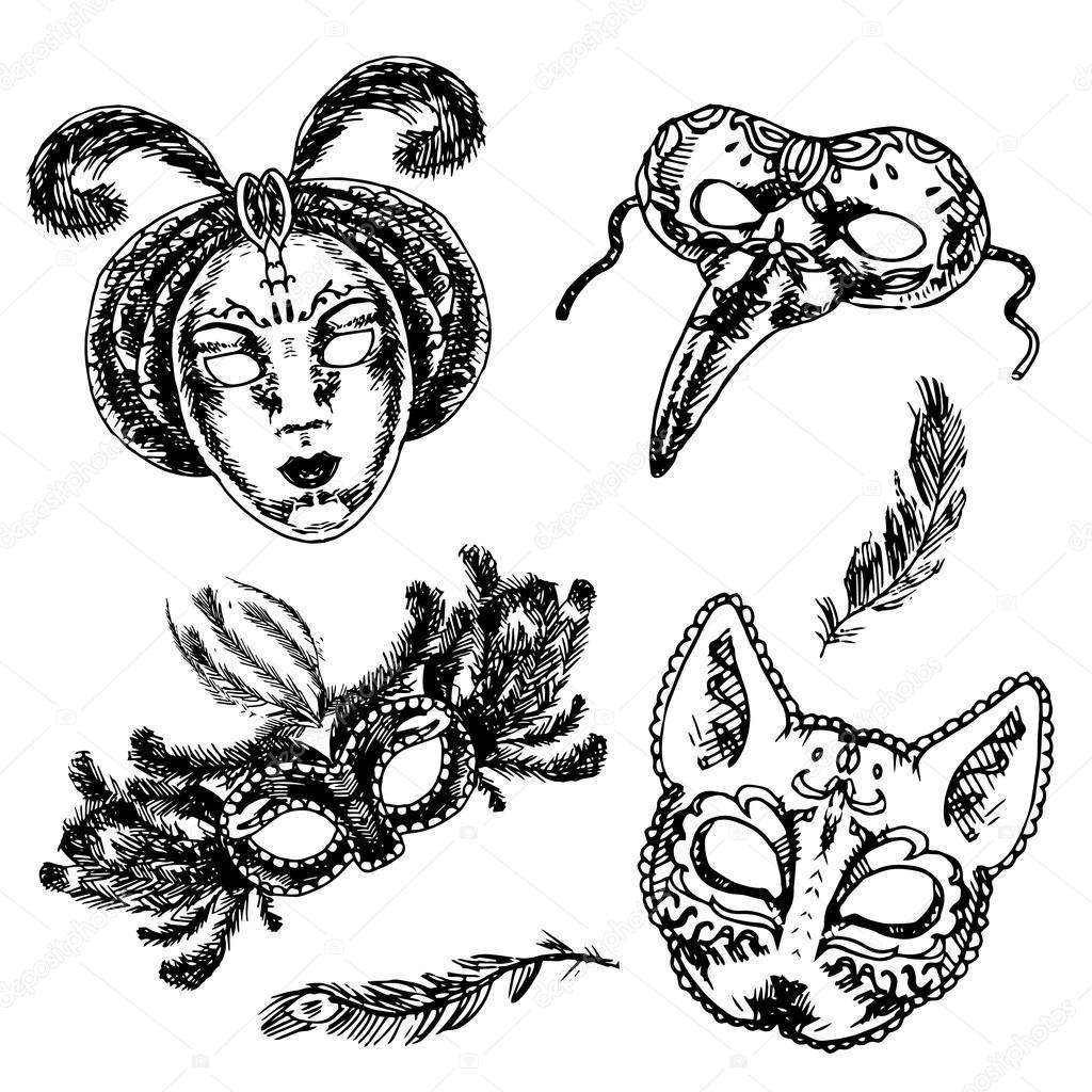 Mascara De Carnaval Conjunto Icono De Boceto
