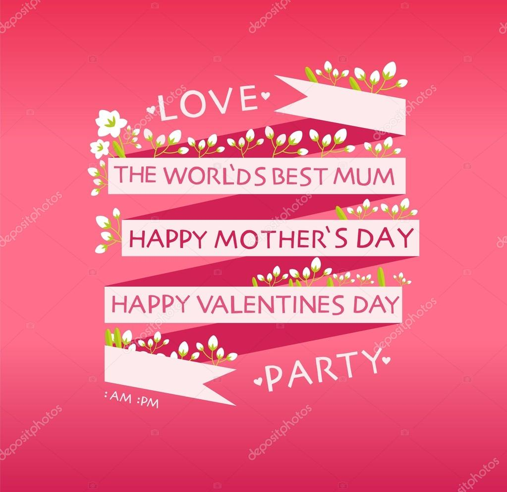 Happy Valentines Day, Mother's Day Cards — Stock Vector