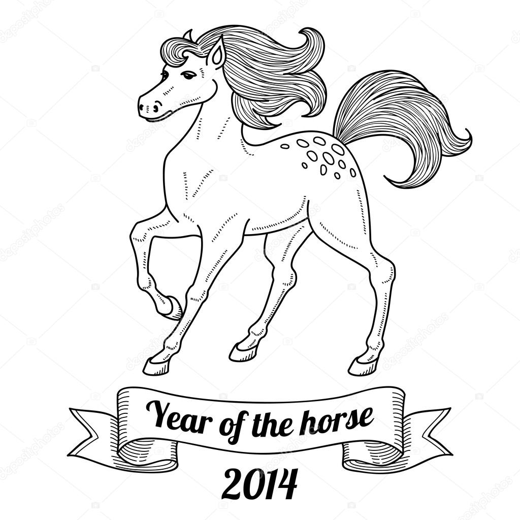 2014 year of the horse — Stock Vector © kotoffei #35683871
