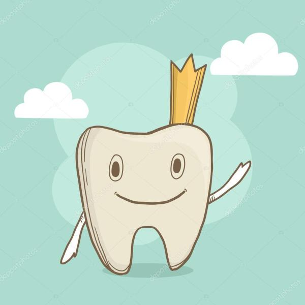 Vector cute smiling tooth with crown on abstract