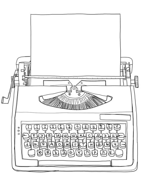 Vintage Bulgarian Manual Typewriter with paper line art