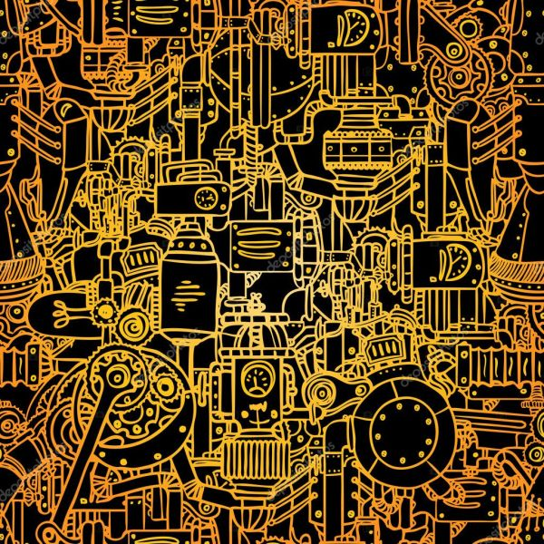 Steampunk Seamless Vector Pattern Stock
