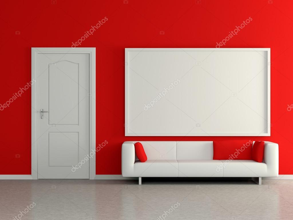 Interno di casa moderna con divano parete rossa e pittura 3D  Foto Stock  vensk 43121635
