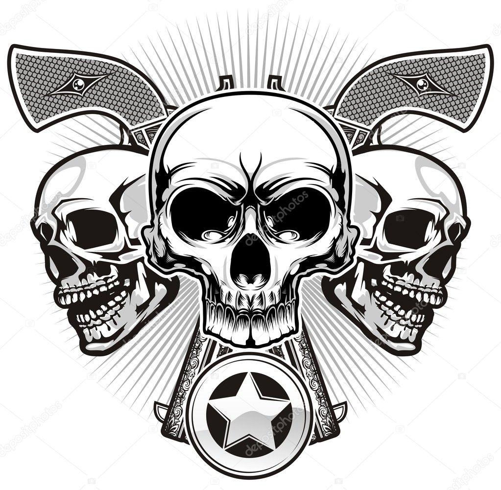 skulls with guns stock