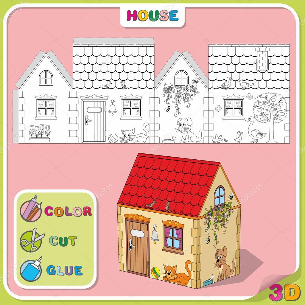 Color Cut Glue Cartoon Illustration Of House With Animals