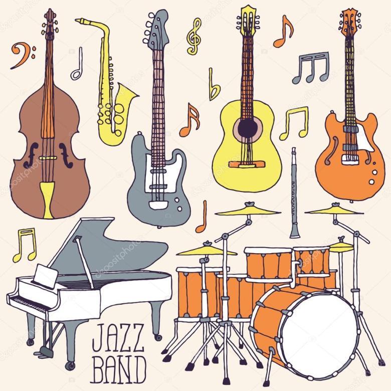 jazz band music instruments — stock vector © sashatigar #51488301