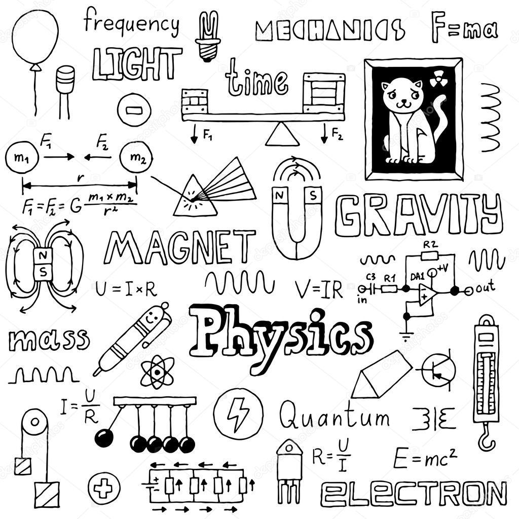 Physics doodles — Stock Vector © Sashatigar #51488317