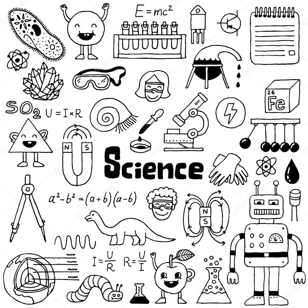 School science doodles — Stock Vector © Sashatigar #51488785