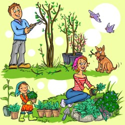ᐈ Cartoon gardening stock images Royalty Free cartoon gardening girl cliparts download on Depositphotos®