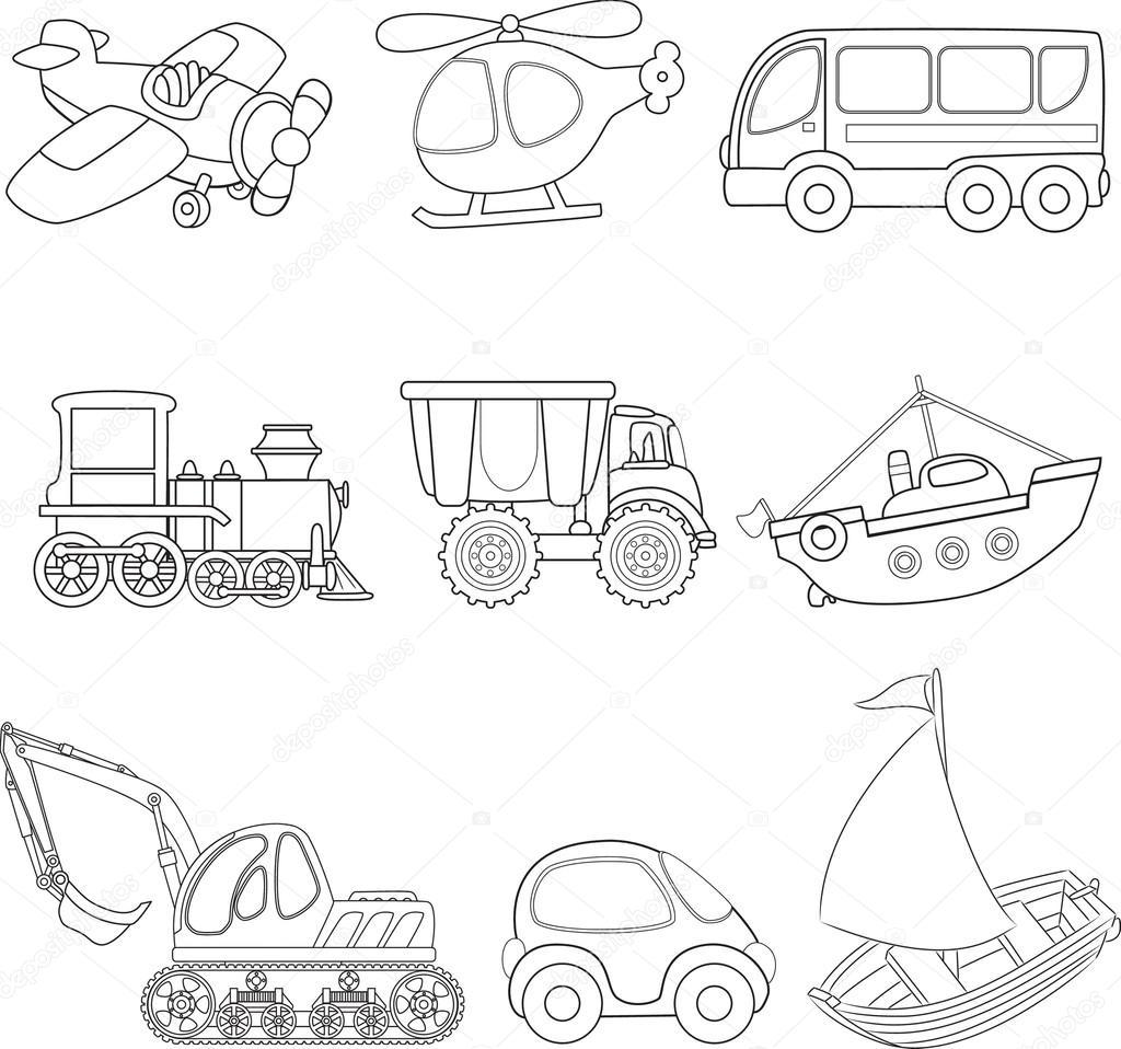 Transporte De Dibujos Animados Libro Para Colorear