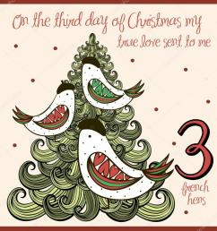the 12 days of christmas third day three french hens vector by nglyeyee [ 1019 x 1023 Pixel ]