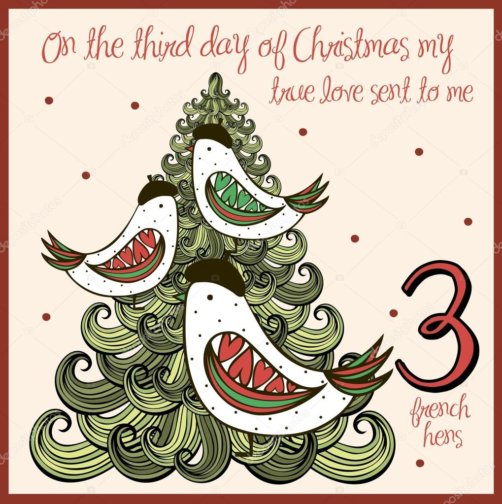 hight resolution of the 12 days of christmas third day three french hens vector by nglyeyee