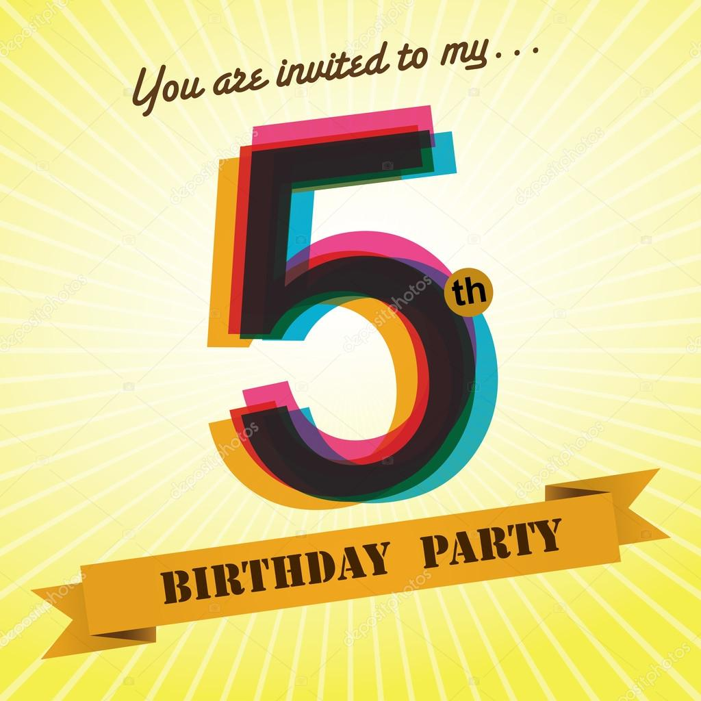 5th birthday party invite template design in retro style vector background vector image by c harshmunjal vector stock 51513271