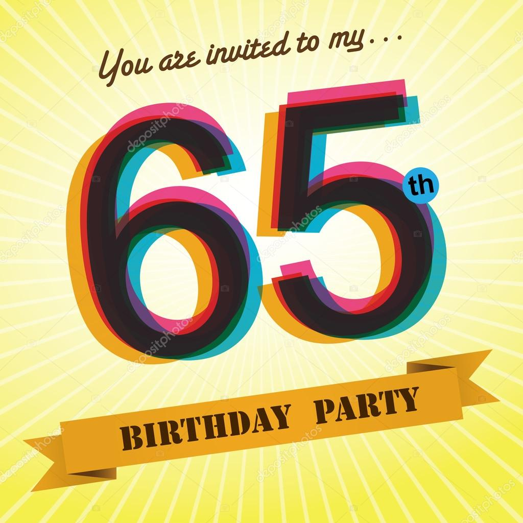 65th birthday party invite template design in retro style vector background vector image by c harshmunjal vector stock 51522823