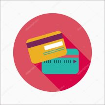Credit Card Flat Icon With Long Shadow Stock Vector