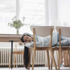 Chairs For Sleeping Old High Chair Ideas Woman On With Headphones Toothy Smile Mobile Stock Photo