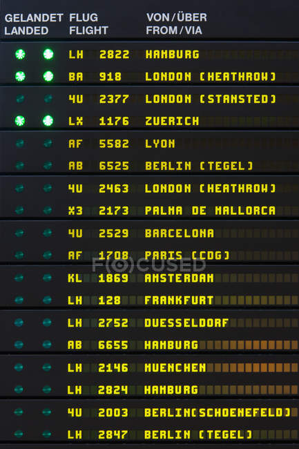 arrival and departure board