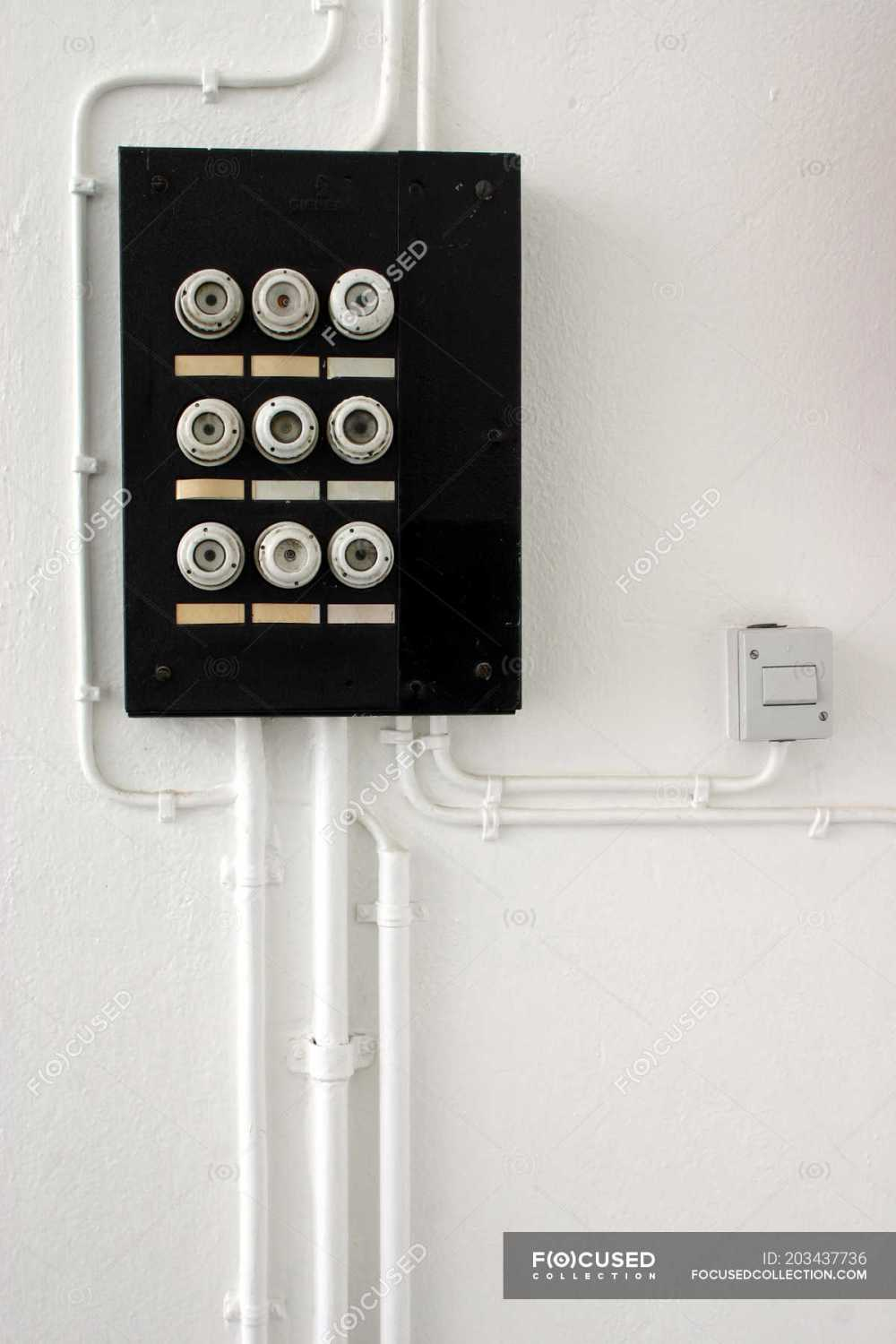 medium resolution of wall with fuse box safety switch server stock photos