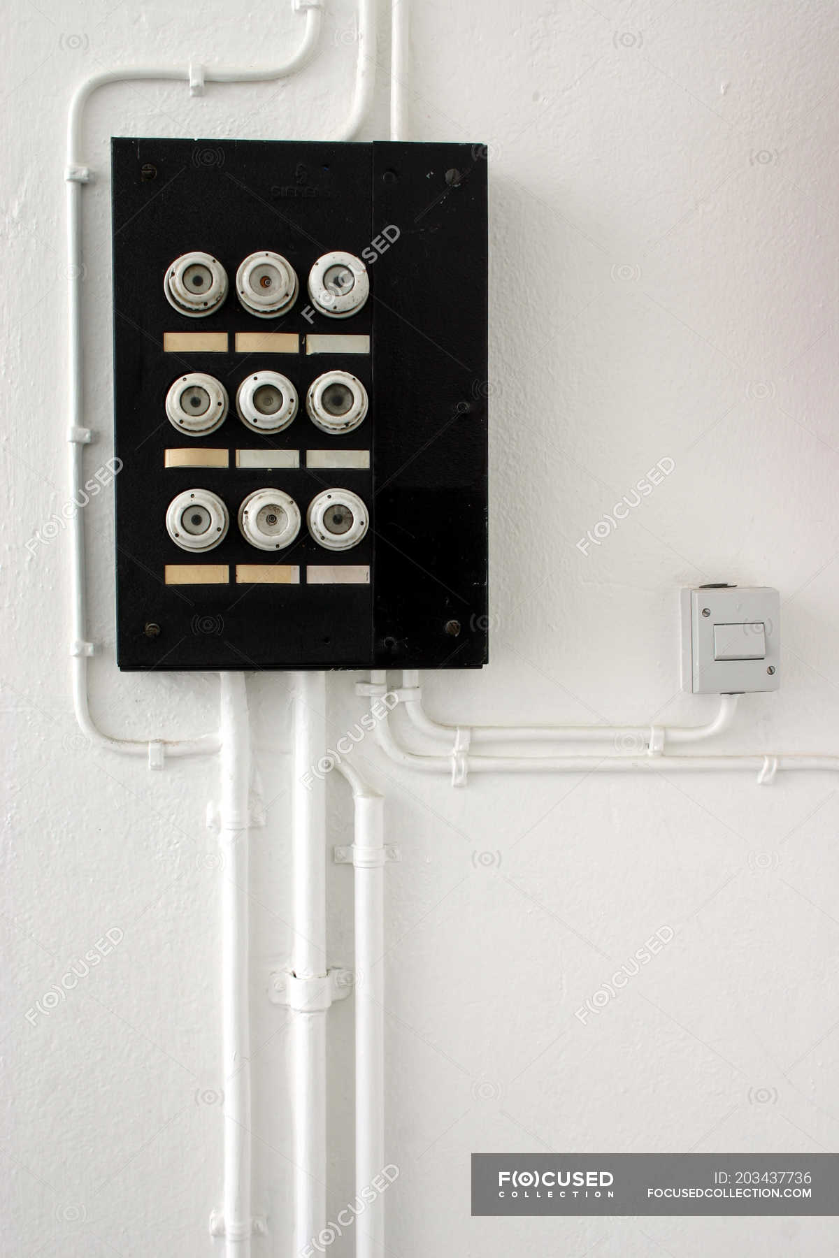 hight resolution of wall with fuse box safety switch server stock photos