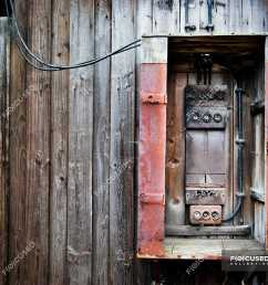 wooden planks on wall of old house and fuse box stock photos [ 1800 x 1222 Pixel ]