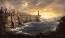 Hintergrund Japan Gebirge Felsen Burg Freie