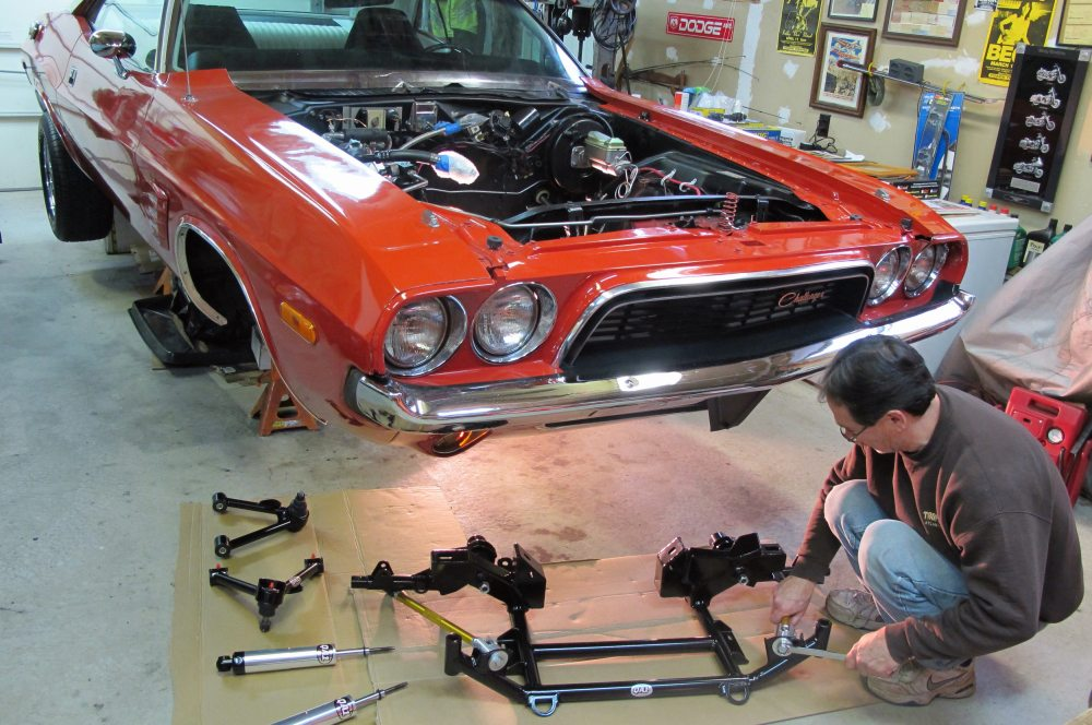 medium resolution of 1973 dodge challenger with qa1 k member suspension