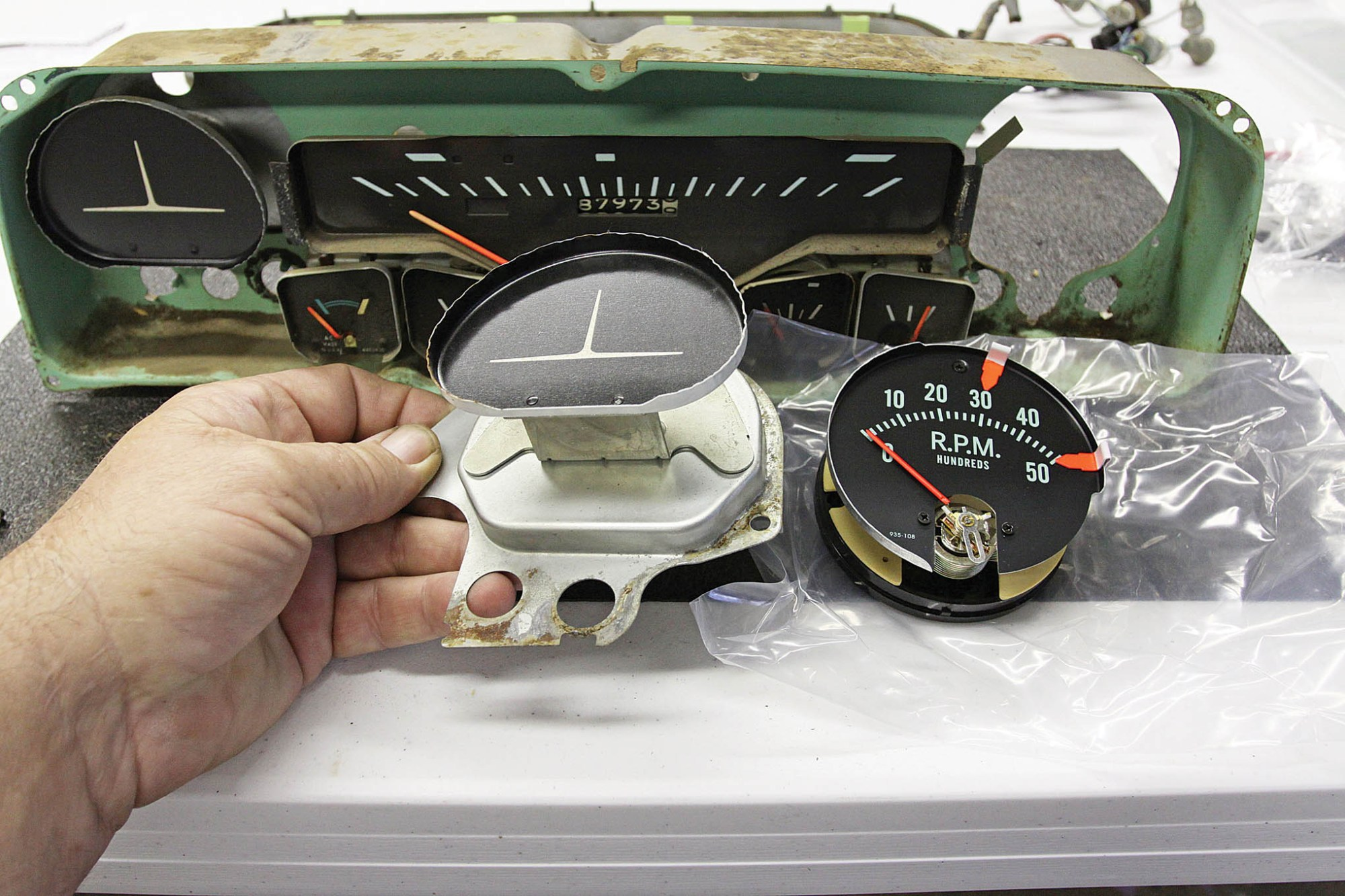 hight resolution of the factory style tachometer attaches to this mounting plate remove the two 5
