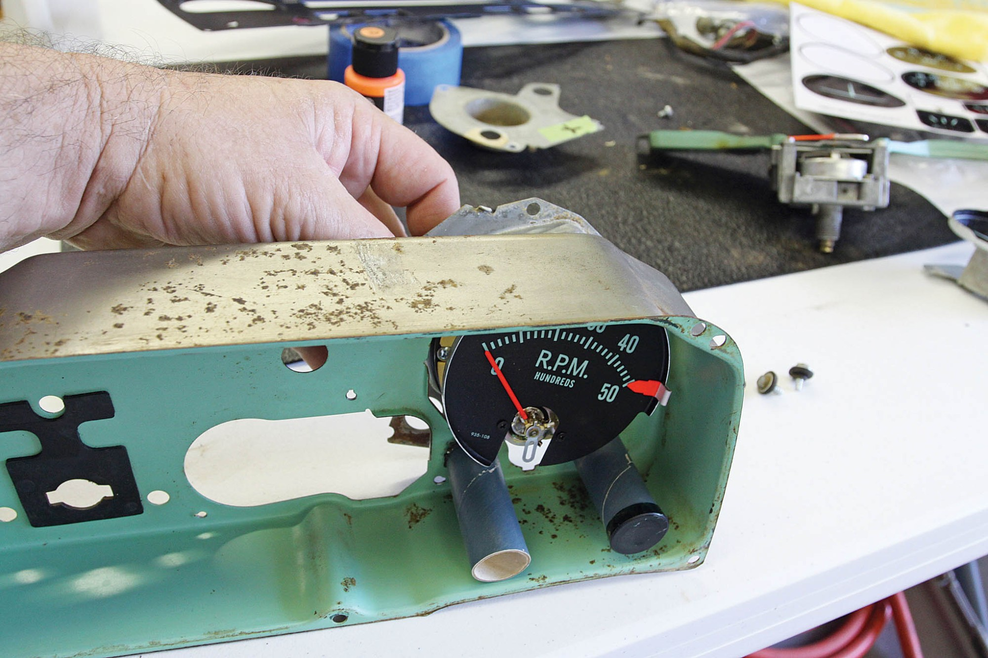 hight resolution of the right side tachometer blanking plate is installed from behind the tachometer wiring