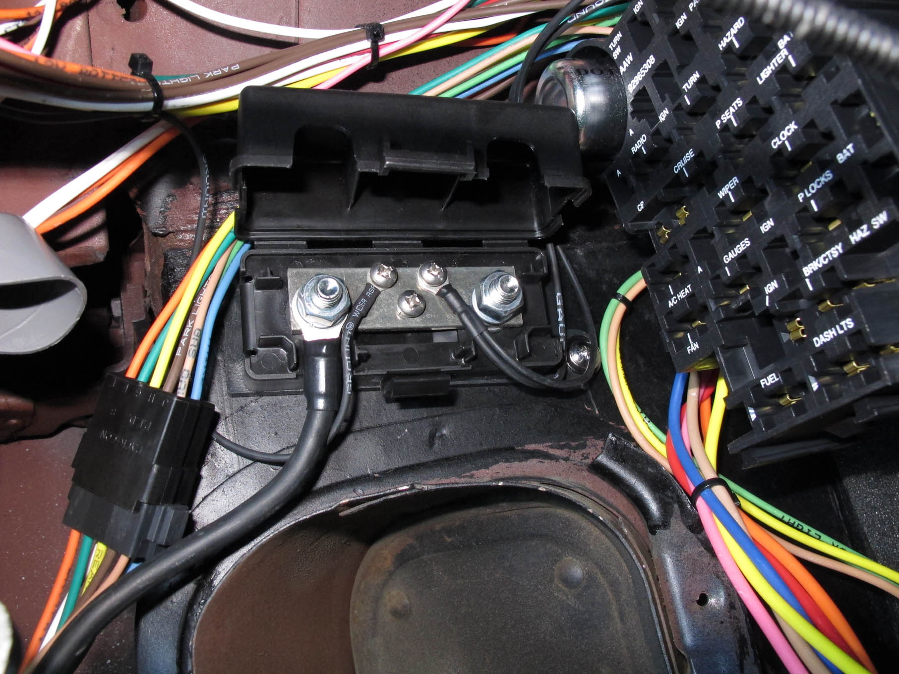 hight resolution of wiring a tri five chevy and adding a hidden surprise hot rod network electrical junction box with posts including 1955 chevy fuse panel