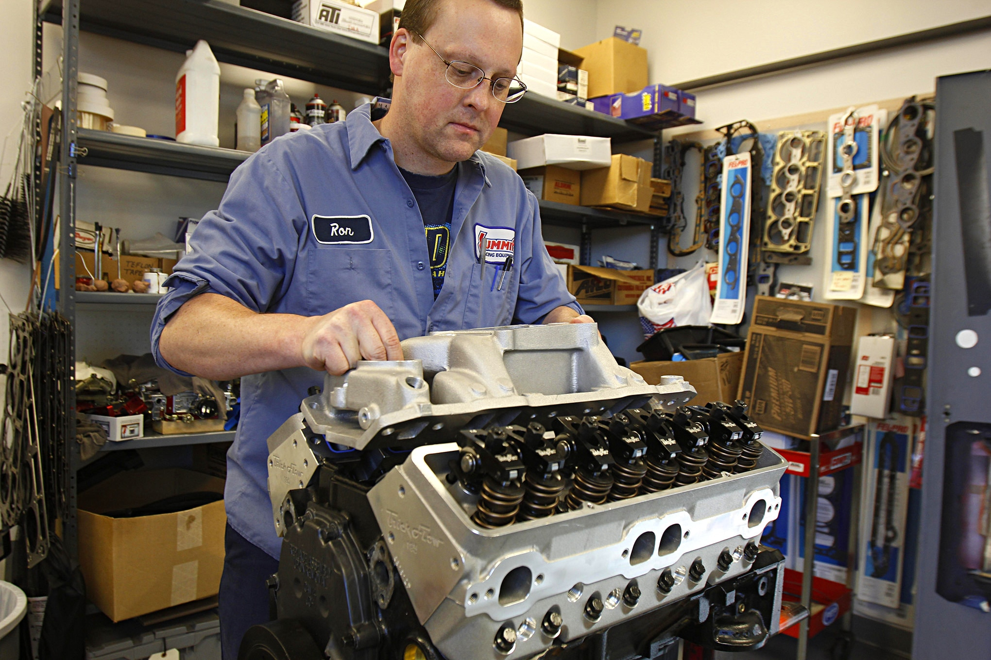 Trick Flow's Ron Greczarik assembled the engine for us, which includes Trick Flow's dual-plane intake manifold, a hydraulic roller cam, and 1.5:1 roller rocker arms.