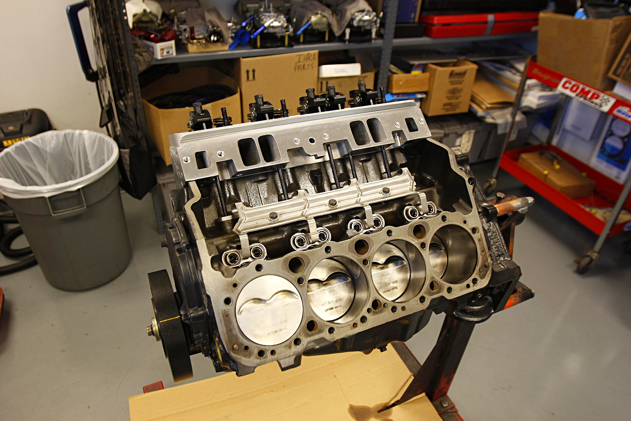 Our new 350 was built with a Scat and Sealed Power rotating assembly in a Vortec 350 engine block. This engine only had a little dyno time on it and was never installed in a car.