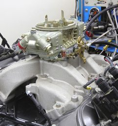 edelbrock performer rpm carbureted dual plane intake arp intake fasteners and a holley 750 cfm hp [ 2040 x 1360 Pixel ]