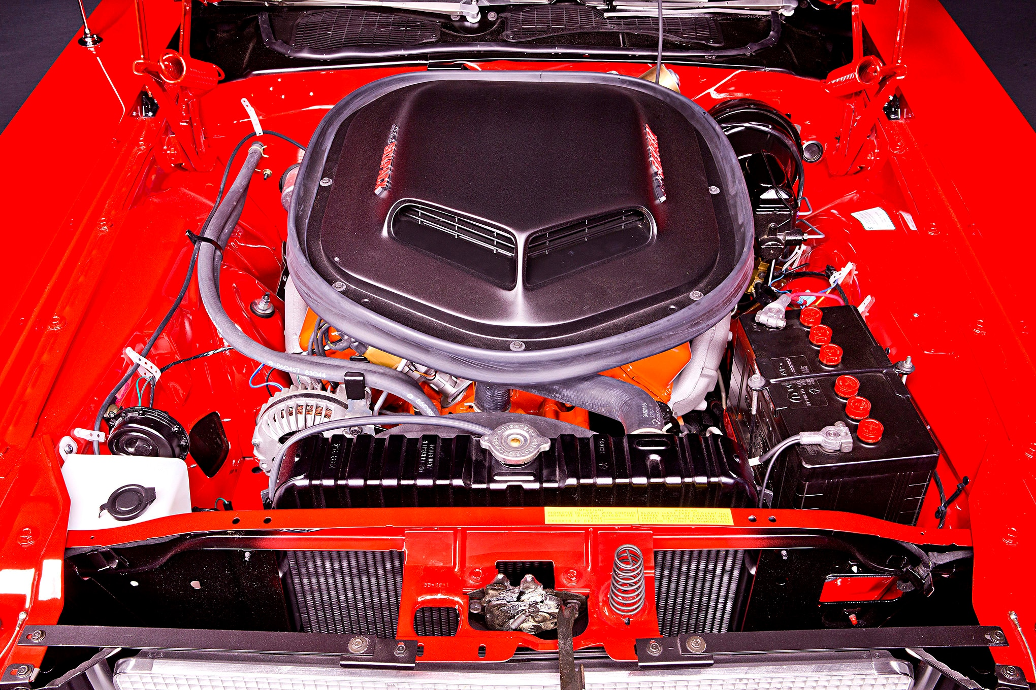 While at first glance it seems like an operating room clean engine bay with a nice stock 440 in it, it isn't. You are looking at an aluminum-headed, full-roller, 446ci big-block that makes 510 hp. It is a romping, stomping, horsepower-making machine.