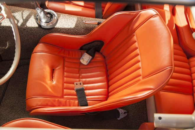 Peterson's most notable departure: this Kirkey vintage racing seat. After trimming, you'd never know it's just an aluminum shell. He uses vintage Stude' seatbelts for daily use.