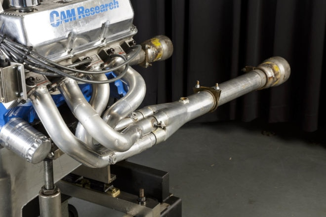 "Each part of the combination helped win the class, and that definitely includes the headers. Scott tried a lot of different header collector styles, but found that the wide RPM range of the Engine Masters competition meant that while the peak power would move up and down in the RPM range, the overall average was very close. The team found that 2-inch primary Hooker headers stepped down to 1-7/8 right at the 3-inch collector cone worked best. As Scott admits, ""it goes against conventional wisdom""."