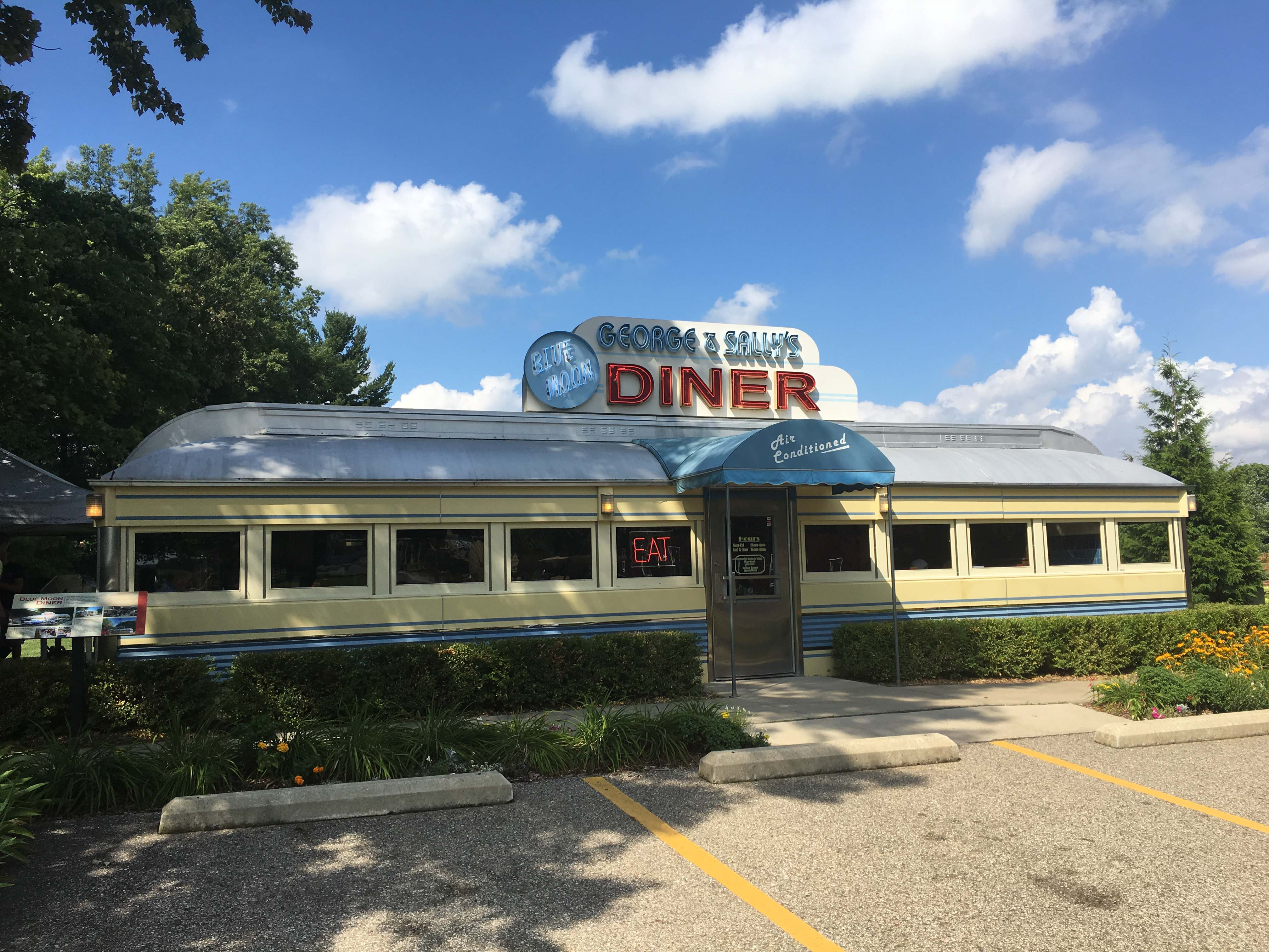 Located on the grounds of the 90-acre Gilmore Car Museum the Blue Moon Diner is a functioning restaurant that is open every day for lunch. The Gilmore also hosts a weekly car cruise every Wednesday during the summer.