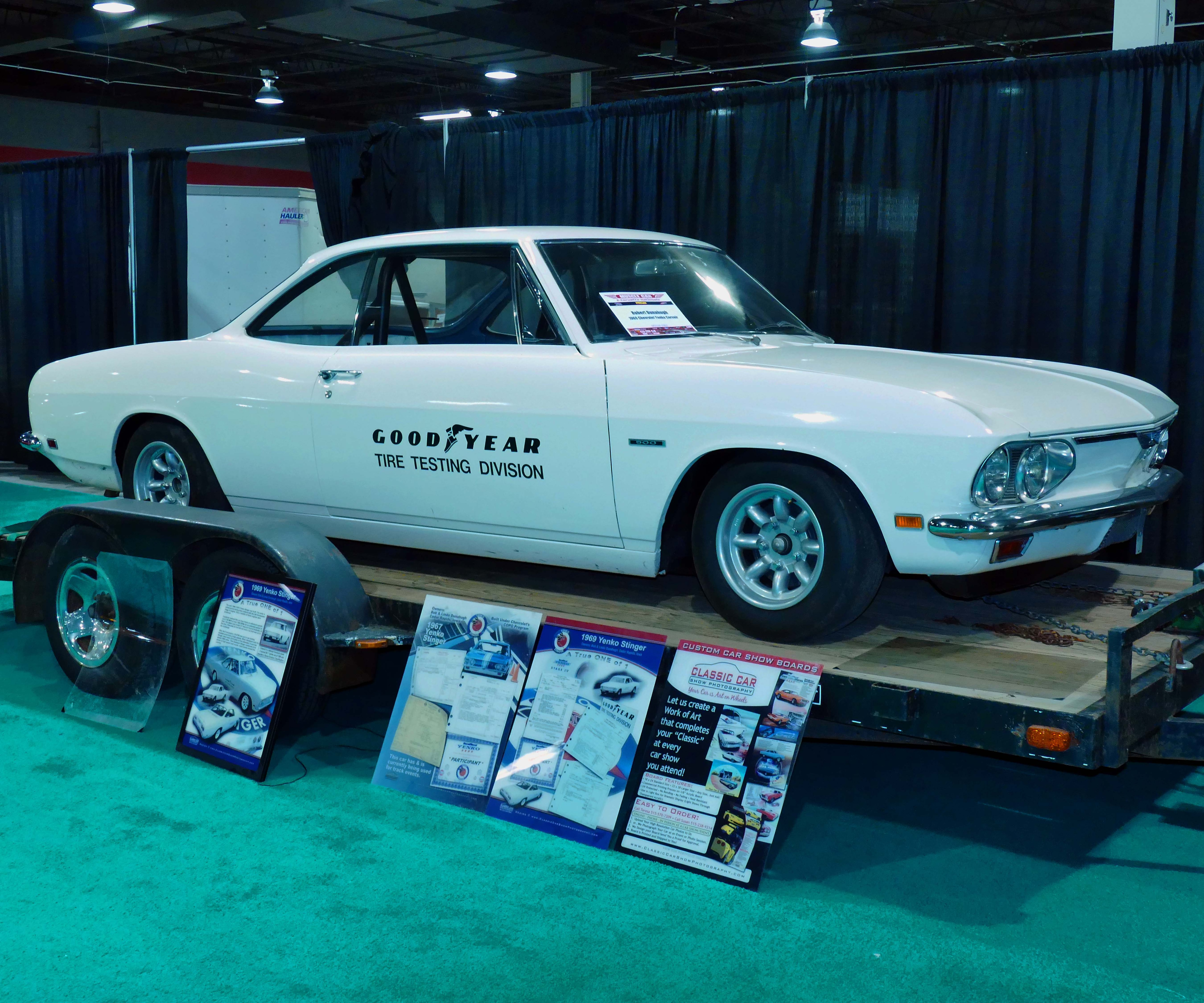10. Best Vintage Little Car – 1969 Stage IV Stinger – Robert Donahugh Even with rare Pentastar iron everywhere, Stunkard, a diehard Mopar guy, gave his 2016 MCACN celebrity pick to the Corvair of Robert Donahugh. A COPO factory build for the suspension, this is the only Stinger built new by Yenko in 1969, and likely the final one created during the Corvair model's production. The car was special-ordered by Goodyear to do 13-inch 130-mph tire testing for Ford of Australia. Since Ford had nothing that fast domestically wearing so small a tire, Yenko's shop built this non-race-lightened Stage IV package for the tire firm under contract, which then successfully completed its mission. Donahugh also had extensive paperwork from Yenko office manager Donna Mae Mims between both Goodyear corporate and the Yenko shop forces. He still races the car on occasion, and towed it in with a 1978 GMC Royale camper that he and his wife travel the country with.