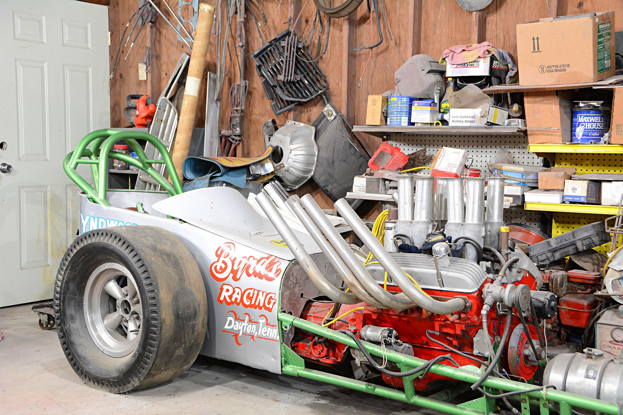 The first vintage drag car that caught Troy's eye was this Lyndwood dragster. It has yet to be fully identified and documented, but it was built in 1964 and was one of the final Lyndwood Welding frames offered to the public. The Pete Jackson fuel injection atop the small-block Chevy is also a rare piece.