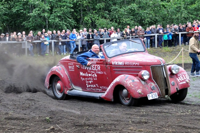 Great Grins: The guys in this Norwegian-registered '36 Ford convertible were having a great time in the dirt.