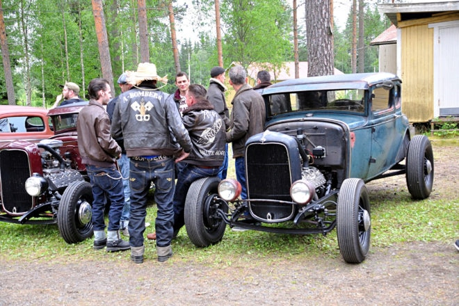 Club Jackets: The club members had to bring out their leather jackets because it was cold, even though it was in the middle of July. The guy in the hat and A-Bombers jacket is Tarzan from Karlstad, who drives a fenderless '34 roadster.