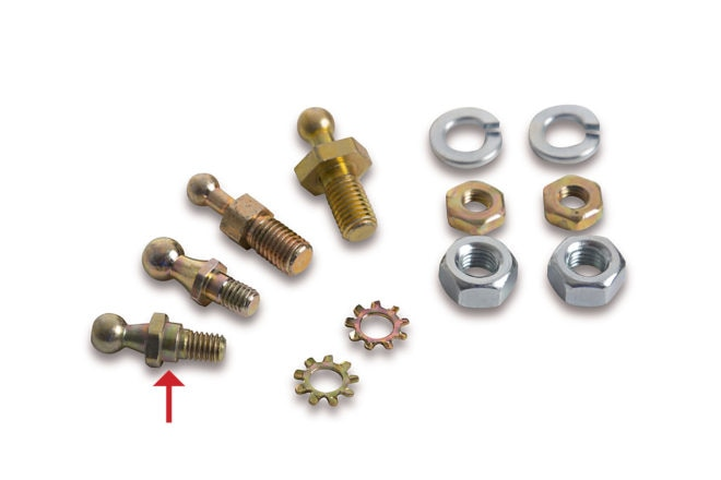 From his miscellaneous parts pile, Sanchez grabbed a ball stud with a larger ¼-inch shoulder that fit snugly in the linkage hole. A similar stud (arrow) is contained in Holley stud assortment kit PN 20-2.