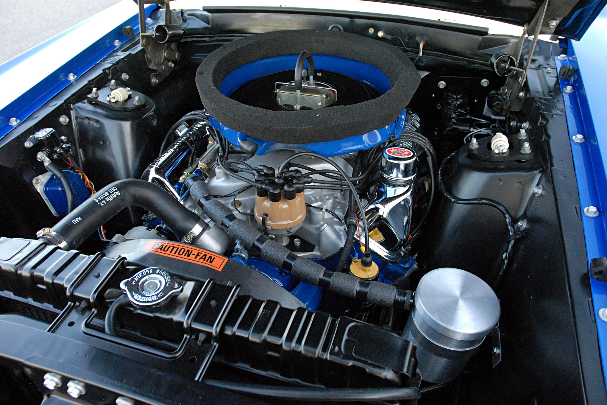 The 428 CJ engine that came with the Mustang was gone two weeks after the car left Foulger Ford, says Gary Schwartz. Now underhood is a Dwight Powell–assembled, 10.7:1 compression 428 CJ outfitted with only the best N.O.S. Ford high-performance parts available.