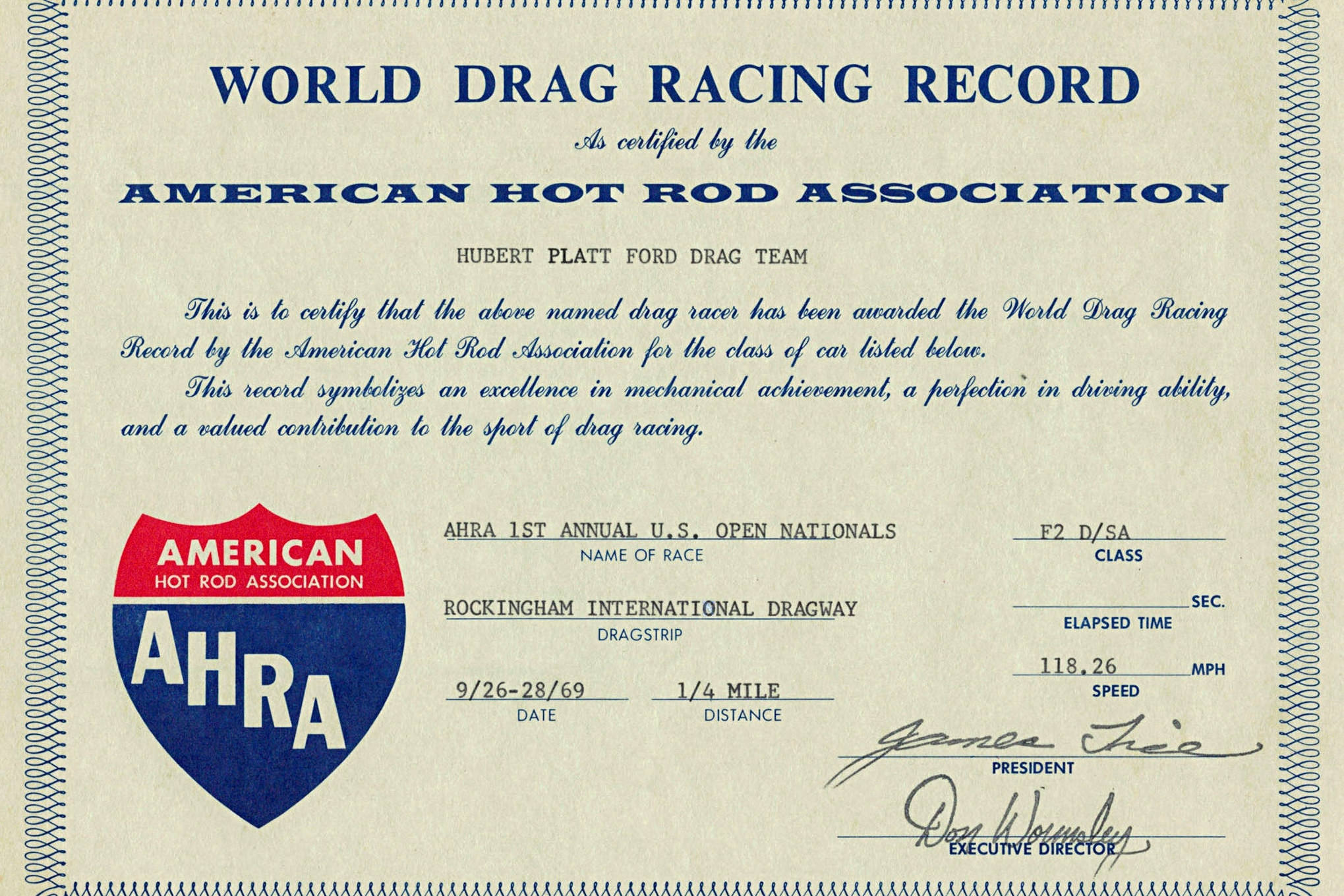 Here is just one of many record certificates collected by Platt and his 428 CJ. This one's for setting the AHRA F2 D/SA mph record of 118.26 in September 1969 at Rockingham Dragway.