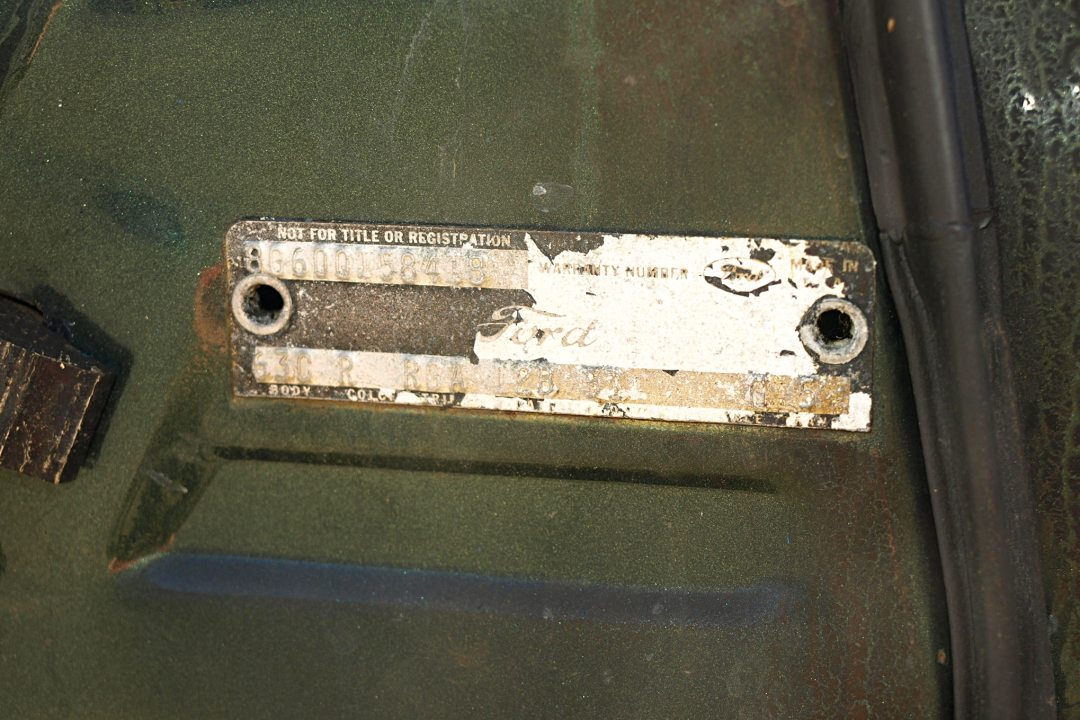 The warranty tag survived and displays the coveted Q engine code in the fifth spot. Other data includes: body code 63C (XL500 hardtop), color R (dark green metallic), trim RGA (gold vinyl interior), date 12B (built on Feb. 12, 1968), DSO 51 (originally delivered to a Ford dealer in Denver, CO), axle G (3.25:1 ratio), and transmission 5 (wide ratio four-speed).