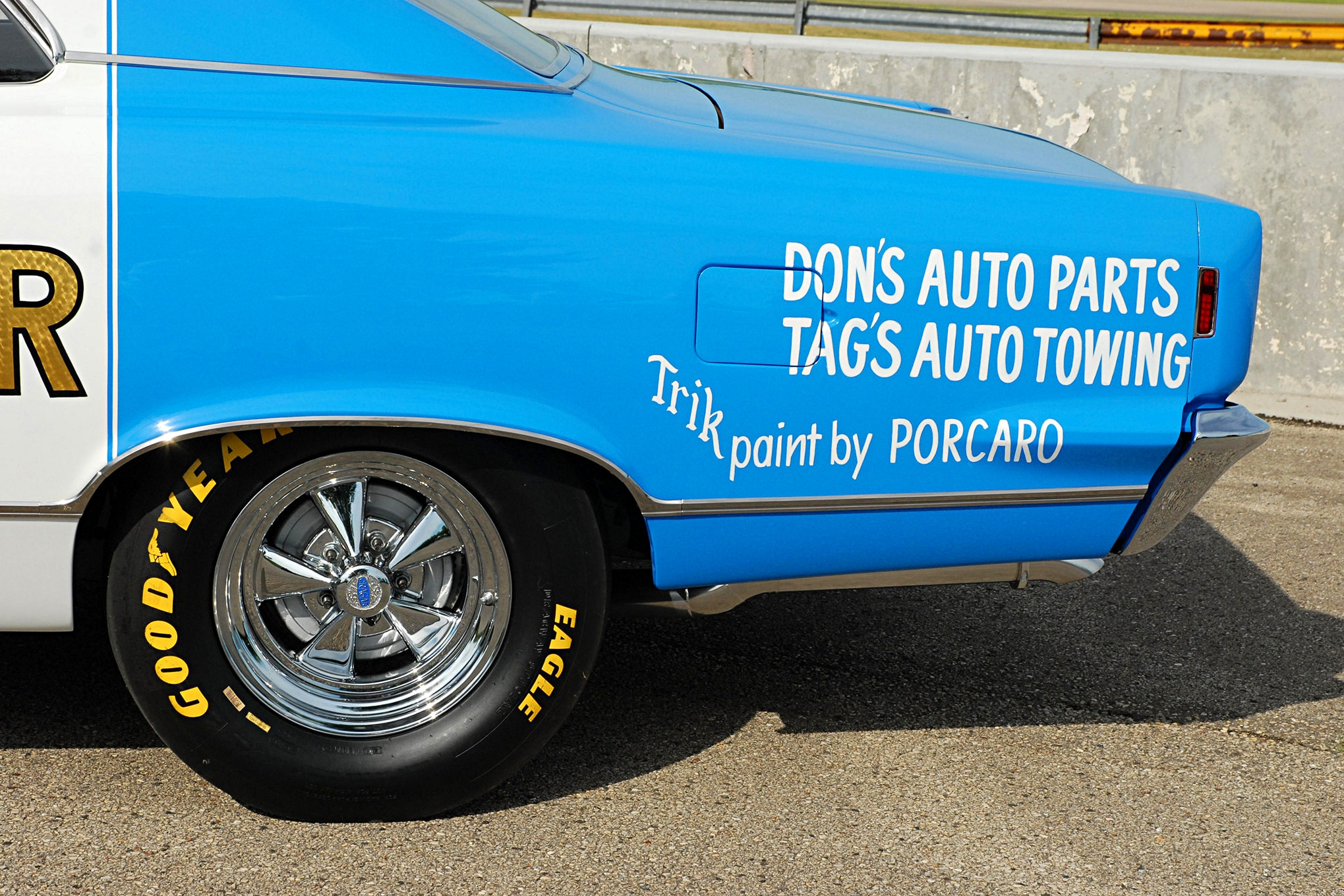 Aherns chose a set of 50th Anniversary Cragar S/S five-spoke wheels for the period-correct restoration and wrapped the rears in the latest Goodyear racing rubber. Also note that both Tony Tag and Dennis Porcaro were paid homage on the rear fender.