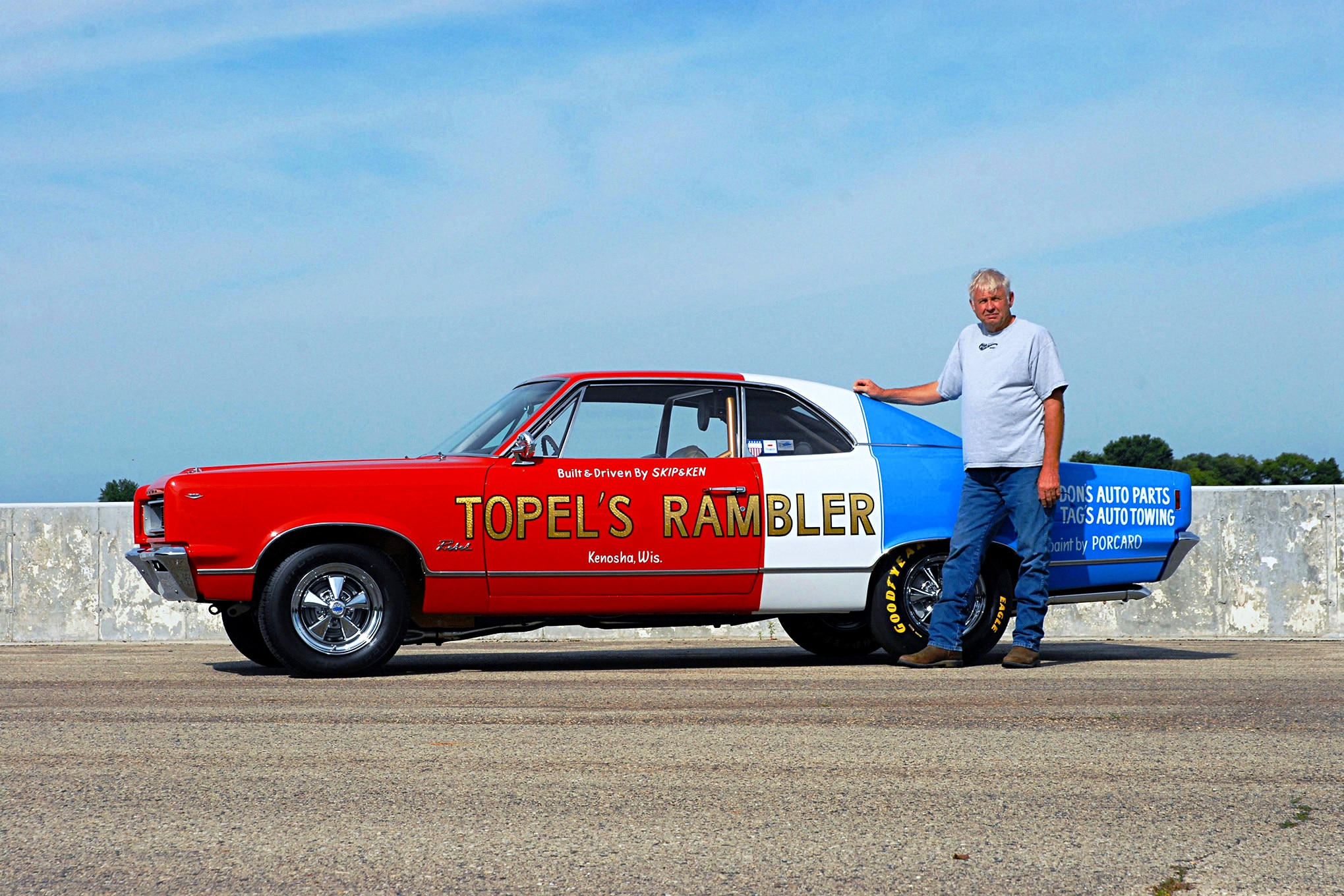 "In 2006, Aherns traded three AMC collector cars for the Rambler. ""It's one of one,"" he says, ""and I want to preserve it just the way it is."" That didn't stop him, though, from dropping the hammer for us to get our lead action shot."