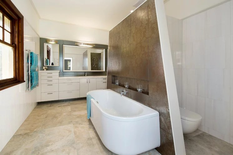 Great Angled Wall In Bathroom Remodeling